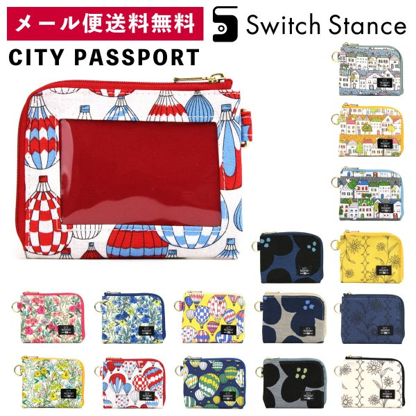 CITYPASSPORTミニ財布L字ファスナー花柄極薄財布パスケース付き日本製シティパスポートSWITCHSTANCEスイッチス