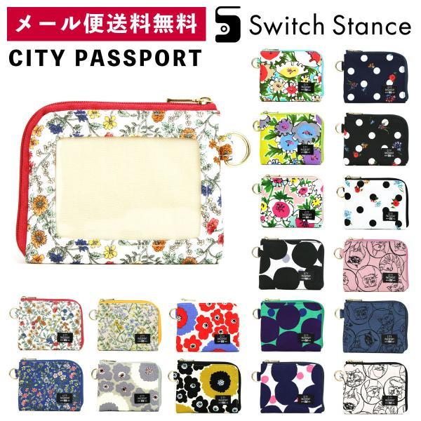 CITYPASSPORTミニ財布L字ファスナー水玉ドット花柄極薄財布パスケース付き日本製シティパスポートSWITCHSTANCE