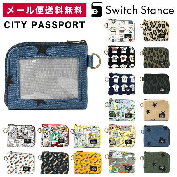 CITYPASSPORTミニ財布L字ファスナー星柄猫極薄財布パスケース付き日本製薄いシティパスポートSWITCHSTANCEスイ
