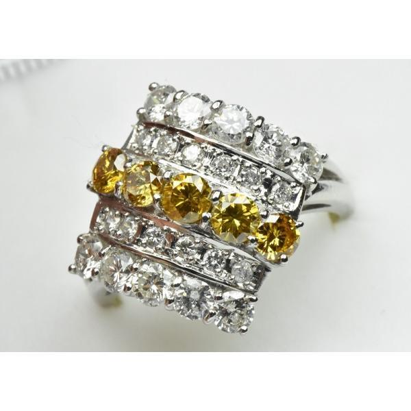 Pt900 ゴージャス イエローダイヤモンド リング 9号 指輪|osaka-jewelry