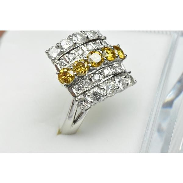 Pt900 ゴージャス イエローダイヤモンド リング 9号 指輪|osaka-jewelry|02