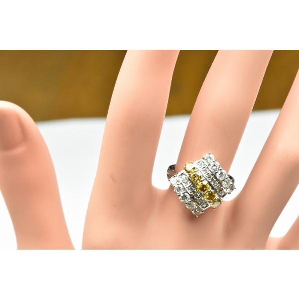 Pt900 ゴージャス イエローダイヤモンド リング 9号 指輪|osaka-jewelry|03