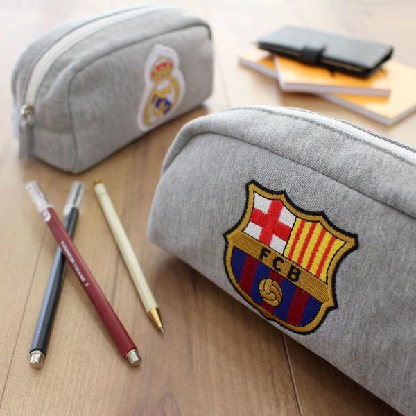 筆箱 ペンケース バルサ レアル 刺繍スウェットポーチ 公式 サッカー 筆記用具|oshare-zakka