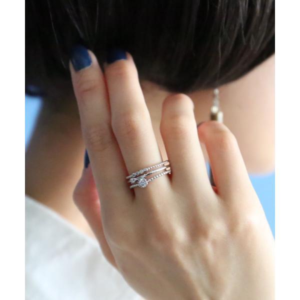レディース アクセサリー リング 指輪 キュービックジルコニア ゴールド シルバー フリーサイズ 三連 重ね付け風  3連風ビジューリング ※メール便可※【0.5】