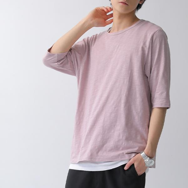メンズ ロンT 6分袖 Tシャツ シャツ トップス 無地 ボーダー カットソー シンプル6分袖Tシャツ ※メール便可※【10】|osharewalker