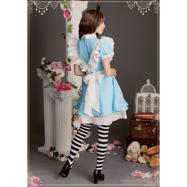 ハロウィン コスプレ アリス メイド 衣装 コスチューム 水色 大人 仮装 かわいい|osyarevo|05