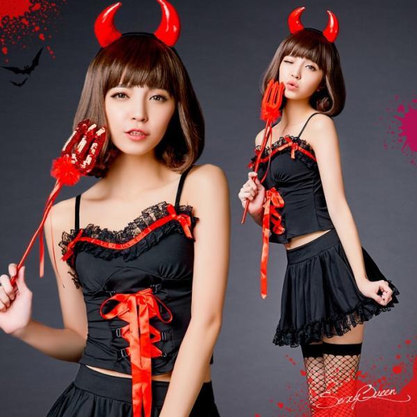 ハロウィン コスプレ 悪魔 衣装 赤 黒 レディース デビル コスチューム 大きいサイズ 仮装 かわいい 可愛い セクシー ツノ コスプレ衣装 osyarevo
