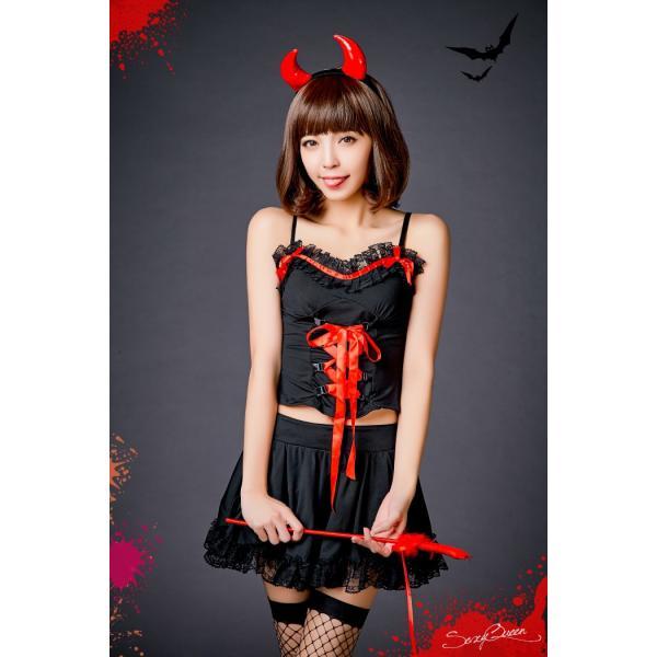 ハロウィン コスプレ 悪魔 衣装 赤 黒 レディース デビル コスチューム 大きいサイズ 仮装 かわいい 可愛い セクシー ツノ コスプレ衣装 osyarevo 05