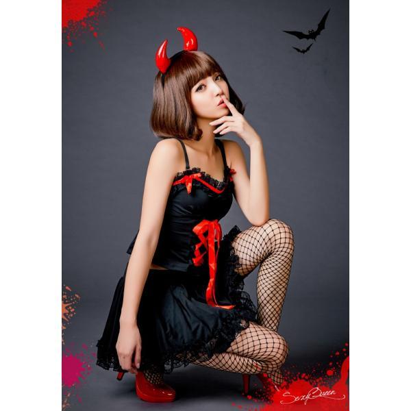 ハロウィン コスプレ 悪魔 衣装 赤 黒 レディース デビル コスチューム 大きいサイズ 仮装 かわいい 可愛い セクシー ツノ コスプレ衣装 osyarevo 06