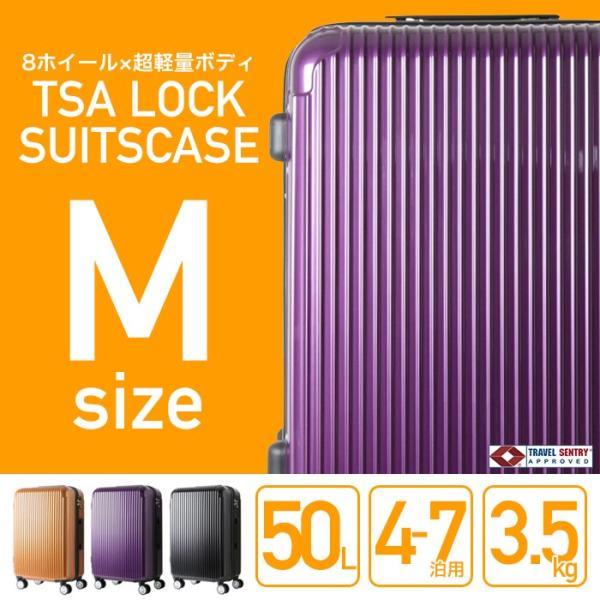 スーツケース UNITED マット加工 8輪キャスタ 軽量 M 50L 中型Mサイズ 4泊〜7泊###ケースYP110W-M###