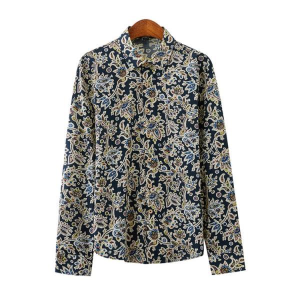 50代ファション 長袖シャツ メンズシャツ 春服 お兄系 カジュアルウンシャツ 花柄シャツ 開襟シャツ ルームウェア|otasukemann|16