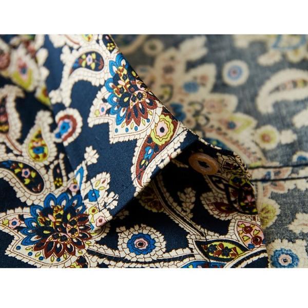 50代ファション 長袖シャツ メンズシャツ 春服 お兄系 カジュアルウンシャツ 花柄シャツ 開襟シャツ ルームウェア|otasukemann|19