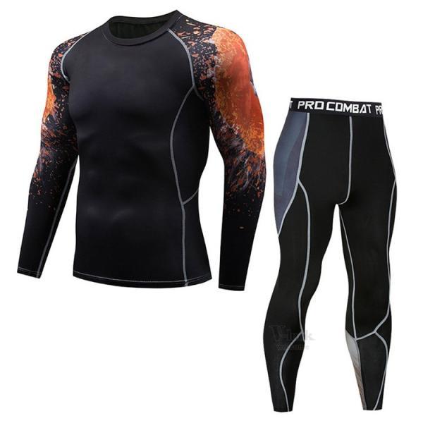 スポーツウェア メンズ コンプレッションウェア セットアップ トレーニングウェア ロングタイツ 長袖 加圧インナー ジャージ 速乾 送料無料|otasukemann|11