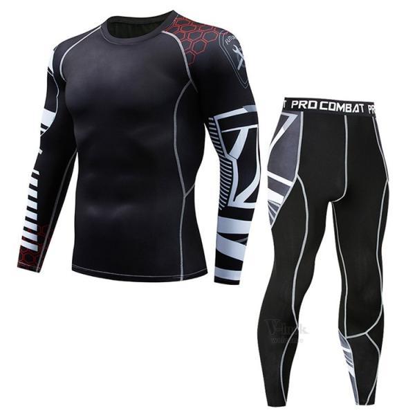 スポーツウェア メンズ コンプレッションウェア セットアップ トレーニングウェア ロングタイツ 長袖 加圧インナー ジャージ 速乾 送料無料|otasukemann|14