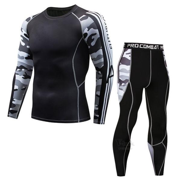 スポーツウェア メンズ コンプレッションウェア セットアップ トレーニングウェア ロングタイツ 長袖 加圧インナー ジャージ 速乾 送料無料|otasukemann|05