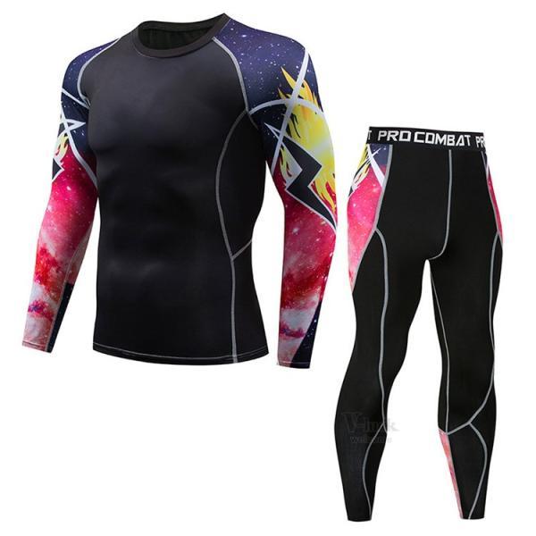 スポーツウェア メンズ コンプレッションウェア セットアップ トレーニングウェア ロングタイツ 長袖 加圧インナー ジャージ 速乾 送料無料|otasukemann|09
