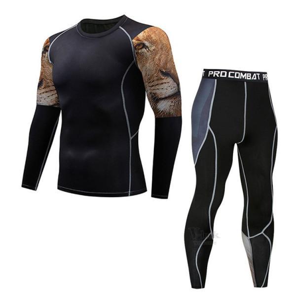 スポーツウェア メンズ コンプレッションウェア セットアップ トレーニングウェア ロングタイツ 長袖 加圧インナー ジャージ 速乾 送料無料|otasukemann|10