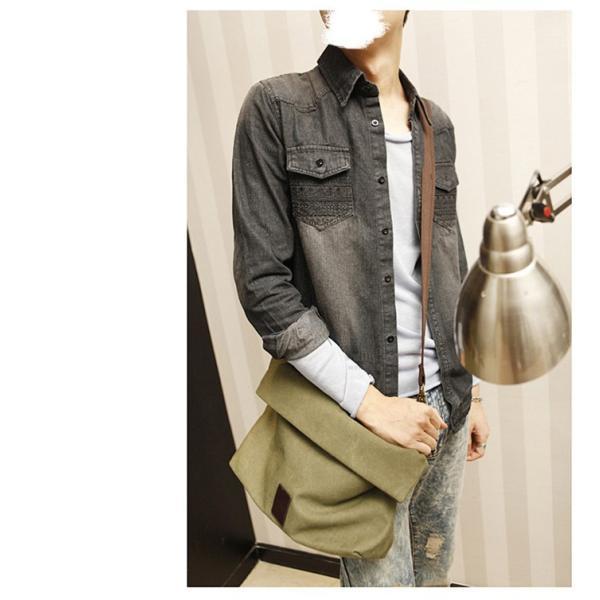斜めがけ メンズ ショルダーバッグ メッセンジャーバッグ 口折れ バック かばん ポシェット 斜め掛け 2Wayバッグ 鞄|otasukemann|13