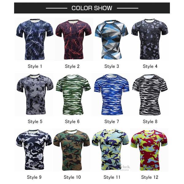 レーシングシャツ フィットネスウェア メンズ Tシャツ 半袖 コンプレッションウェア トップス 加圧シャツ アンダーシャツ トレーニング 吸汗速乾|otasukemann|02