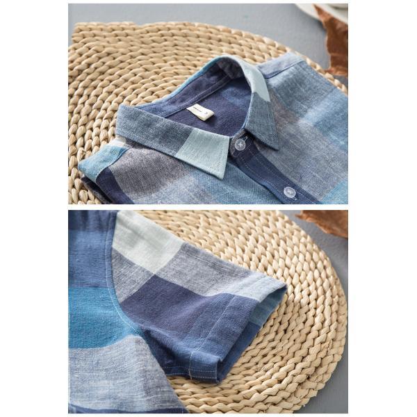 リネンシャツ メンズ 半袖シャツ 無地 綿 麻 チェック柄 新作 カジュアルシャツ 半袖 涼しい お兄系 夏 サマー|otasukemann|11