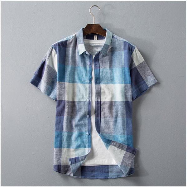 リネンシャツ メンズ 半袖シャツ 無地 綿 麻 チェック柄 新作 カジュアルシャツ 半袖 涼しい お兄系 夏 サマー|otasukemann|03