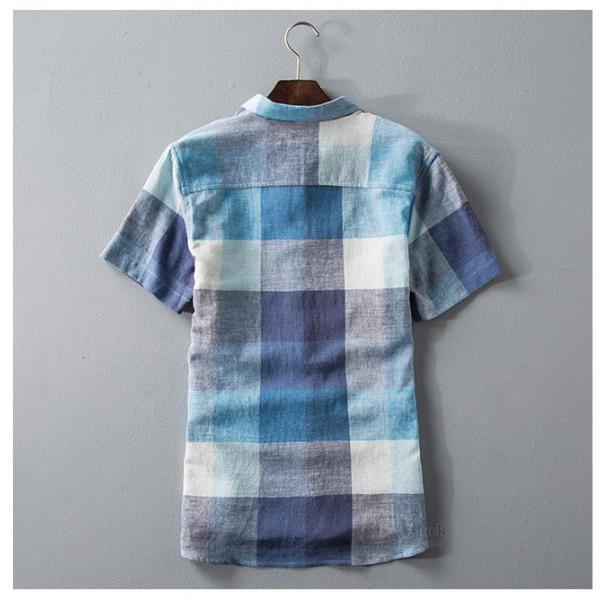 リネンシャツ メンズ 半袖シャツ 無地 綿 麻 チェック柄 新作 カジュアルシャツ 半袖 涼しい お兄系 夏 サマー|otasukemann|04