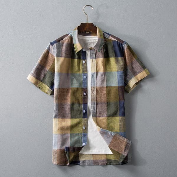 リネンシャツ メンズ 半袖シャツ 無地 綿 麻 チェック柄 新作 カジュアルシャツ 半袖 涼しい お兄系 夏 サマー|otasukemann|05