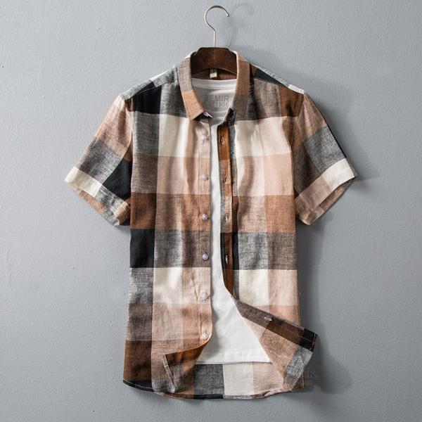 リネンシャツ メンズ 半袖シャツ 無地 綿 麻 チェック柄 新作 カジュアルシャツ 半袖 涼しい お兄系 夏 サマー|otasukemann|06