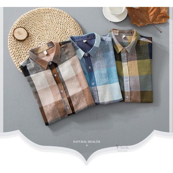 リネンシャツ メンズ 半袖シャツ 無地 綿 麻 チェック柄 新作 カジュアルシャツ 半袖 涼しい お兄系 夏 サマー|otasukemann|07