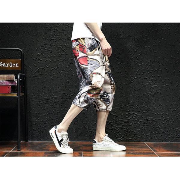 サルエルパンツ メンズ ズボン クロップドパンツ ワイドパンツ バギーパンツ ガウチョパンツ 涼しい 七分丈 ゆったり 無地|otasukemann|17
