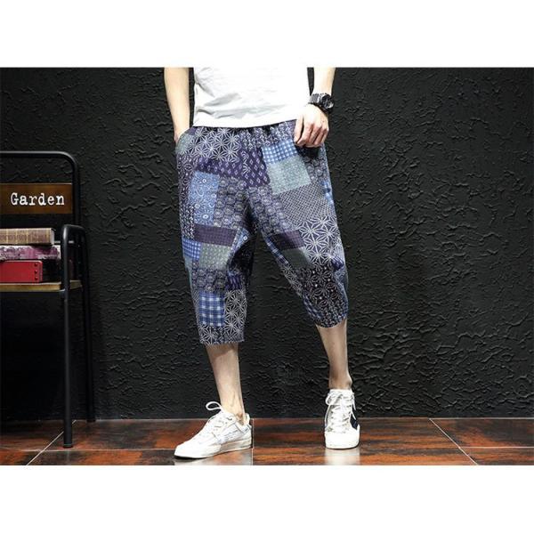 サルエルパンツ メンズ ズボン クロップドパンツ ワイドパンツ バギーパンツ ガウチョパンツ 涼しい 七分丈 ゆったり 無地|otasukemann|20