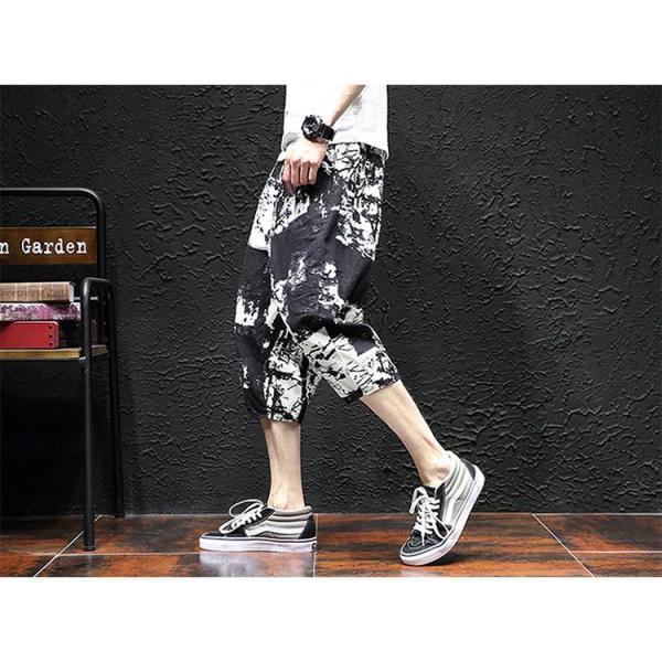 サルエルパンツ メンズ ズボン クロップドパンツ ワイドパンツ バギーパンツ ガウチョパンツ 涼しい 七分丈 ゆったり 無地|otasukemann|21