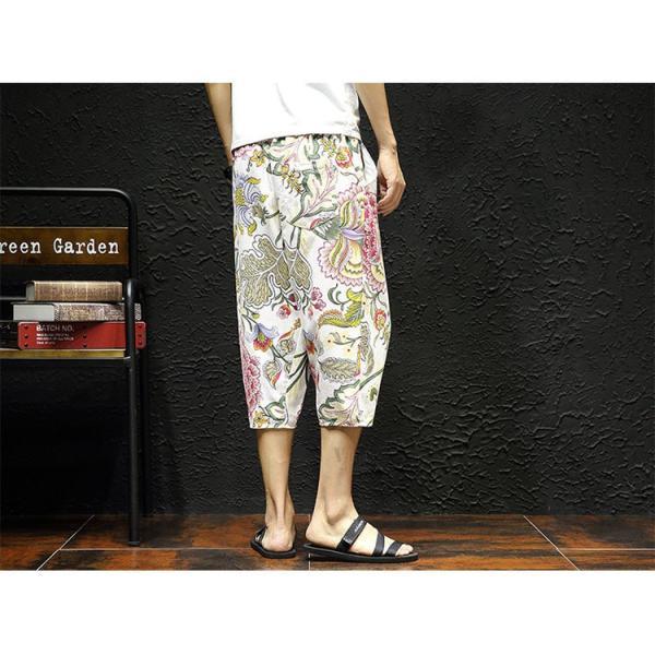 サルエルパンツ メンズ ズボン クロップドパンツ ワイドパンツ バギーパンツ ガウチョパンツ 涼しい 七分丈 ゆったり 無地|otasukemann|06