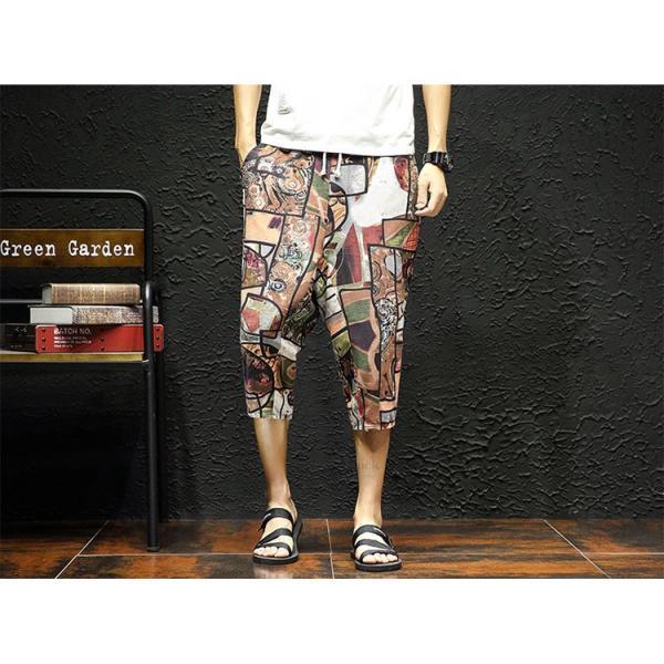 サルエルパンツ メンズ ズボン クロップドパンツ ワイドパンツ バギーパンツ ガウチョパンツ 涼しい 七分丈 ゆったり 無地|otasukemann|08