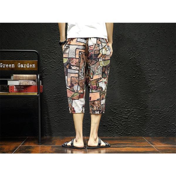 サルエルパンツ メンズ ズボン クロップドパンツ ワイドパンツ バギーパンツ ガウチョパンツ 涼しい 七分丈 ゆったり 無地|otasukemann|10