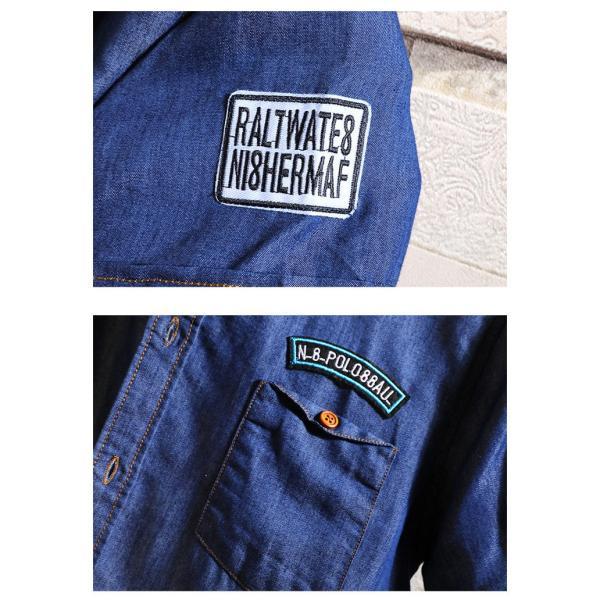 カットデニム デニムシャツ メンズ トップス スリムシャツ 半袖シャツ 無地 カジュアルシャツ ファッション 夏新作 サマー|otasukemann|09
