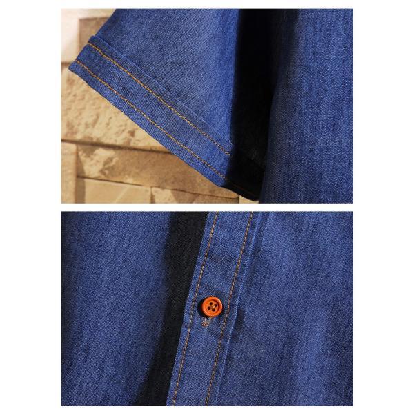 カットデニム デニムシャツ メンズ トップス スリムシャツ 半袖シャツ 無地 カジュアルシャツ ファッション 夏新作 サマー|otasukemann|10