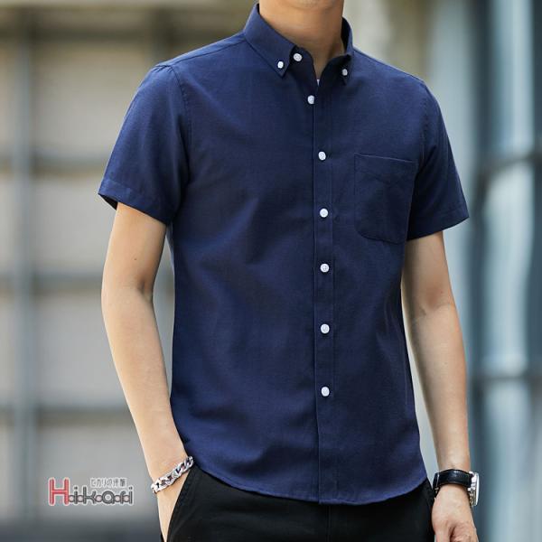 半袖シャツ メンズ ワイシャツ カジュアルシャツ 開襟シャツ 40代 50代 部屋着 無地シャツ 夏服 細身 お兄系 シャツ 夏|otasukemann|13