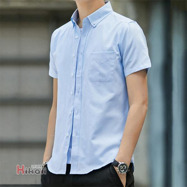半袖シャツ メンズ ワイシャツ カジュアルシャツ 開襟シャツ 40代 50代 部屋着 無地シャツ 夏服 細身 お兄系 シャツ 夏|otasukemann|09