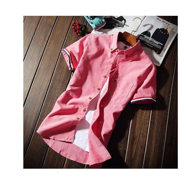 スリムシャツ 半袖シャツ メンズ ボダンダウンシャツ 開襟シャツ トップス カジュアルシャツ トップス 夏服 サマー 部屋着|otasukemann|08
