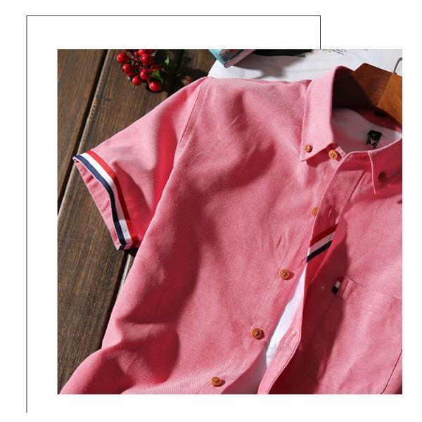 スリムシャツ 半袖シャツ メンズ ボダンダウンシャツ 開襟シャツ トップス カジュアルシャツ トップス 夏服 サマー 部屋着|otasukemann|09