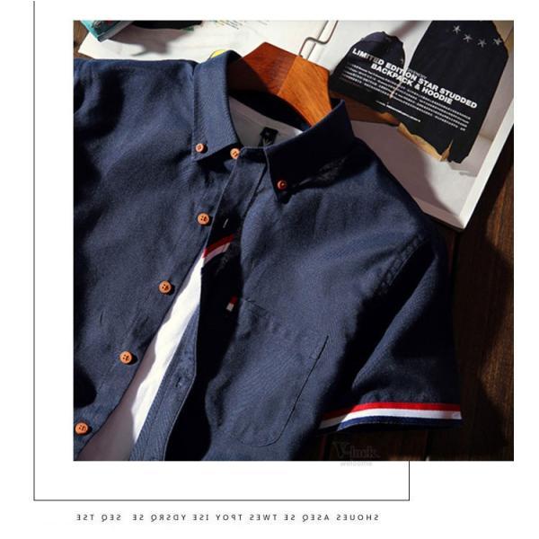 スリムシャツ 半袖シャツ メンズ ボダンダウンシャツ 開襟シャツ トップス カジュアルシャツ トップス 夏服 サマー 部屋着|otasukemann|10