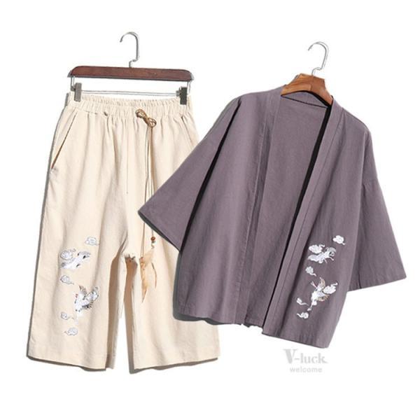 甚平 メンズ 綿麻 上下セット 羽織 着物 浴衣 カーディガン 七分袖 和式 薄手 コーディガン サマー ゆったり 大きいサイズ 夏物 otasukemann 12