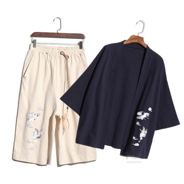 甚平 メンズ 綿麻 上下セット 羽織 着物 浴衣 カーディガン 七分袖 和式 薄手 コーディガン サマー ゆったり 大きいサイズ 夏物 otasukemann 14