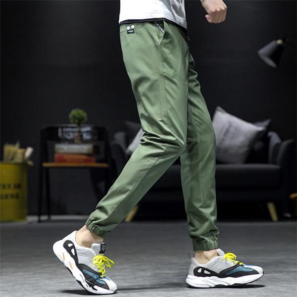 テーパードパンツ リブパンツ メンズ おしゃれ ボトムス カジュアルパンツ ロングパンツ 無地パンツ ズボン チノパン 夏春|otasukemann|20