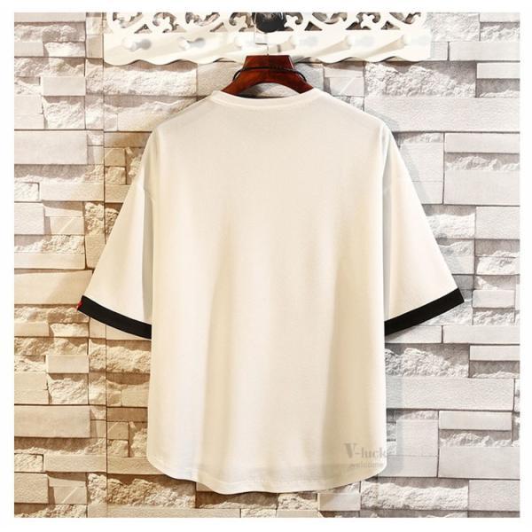 メンズTシャツ 半袖 カジュアル カットソー クルーネック 大きいサイズ T-shirt 半袖Tシャツ サマー お兄系 部屋着 夏物 送料無料|otasukemann|04