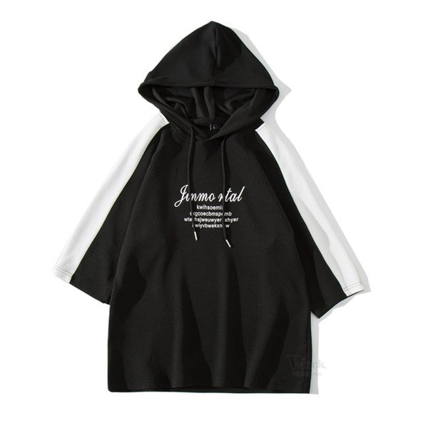 パーカー メンズ 半袖 カジュアル プルオーバーパーカー フード付き 五分袖 半袖パーカー Tシャツ スリム おしゃれ 2019 夏新作|otasukemann|10