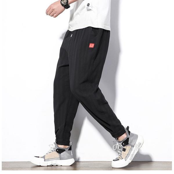 テーパードパンツ メンズ サルエルパンツ アンクルパンツ ズボン カジュアル リネンパンツ 綿麻 夏|otasukemann|12