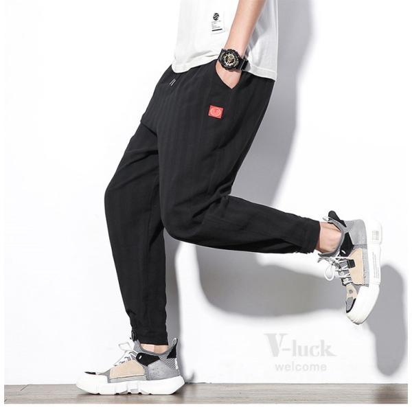 テーパードパンツ メンズ サルエルパンツ アンクルパンツ ズボン カジュアル リネンパンツ 綿麻 夏|otasukemann|14