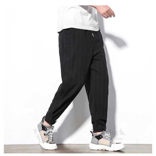 テーパードパンツ メンズ サルエルパンツ アンクルパンツ ズボン カジュアル リネンパンツ 綿麻 夏|otasukemann|16